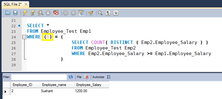 SQL Query to Find Nth Highest Salary of Employee - HowToDoInJava
