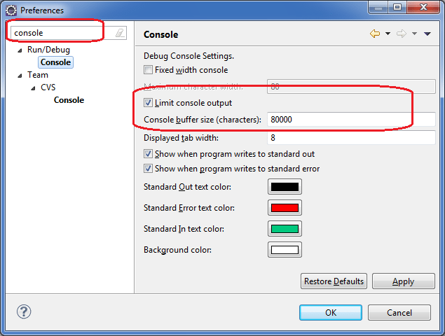 Increase console output limit in eclipse