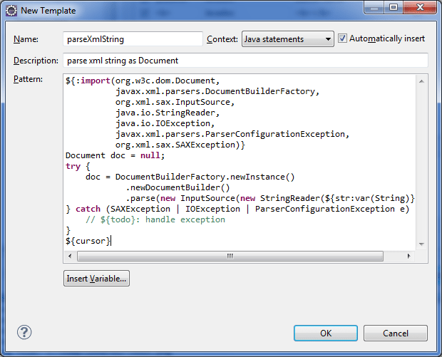 Create eclipse templates for faster java coding for What is template in java