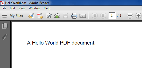 Hello World Program Output as Pdf