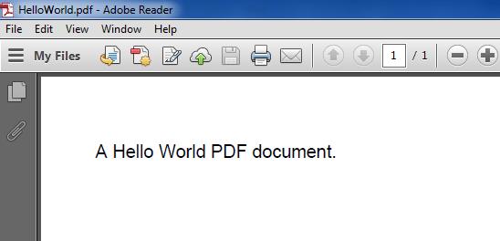 Hello World Program Output as Pdf