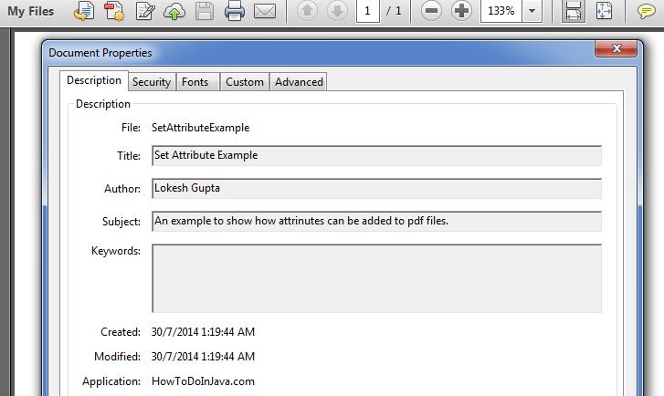 SetAttributeExample Pdf Output