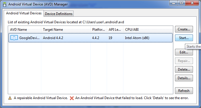 Configure Android Virtual Device - AVD Created