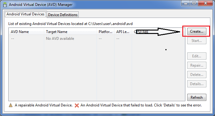 Configure Android Virtual Device Create Button