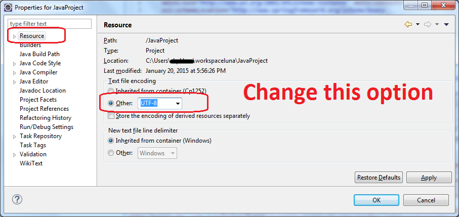 Eclipse change default encoding to unicode