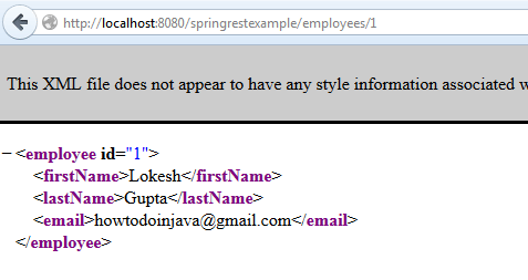 Spring REST XML Example - REST API for get employee by id