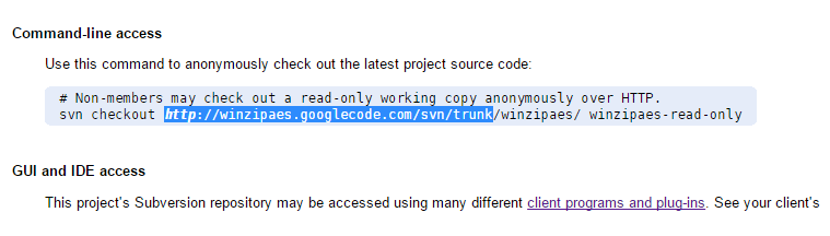 Copy sourcecode checkout URL till trunk