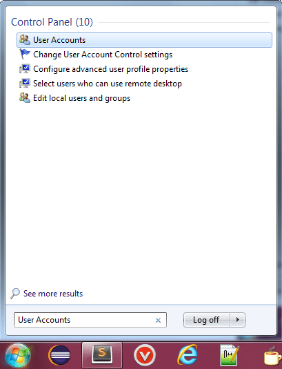 Search User Accounts in Windows 7