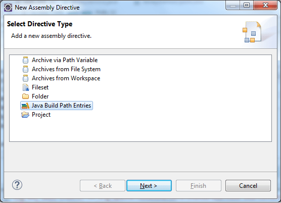 Deployment Assembly - Add Build Path Entries