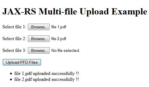 JAX-RS (Jersey) + Ajax Multi-File Upload Example