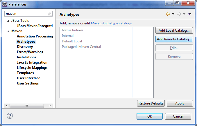 Maven archetype option in eclipse