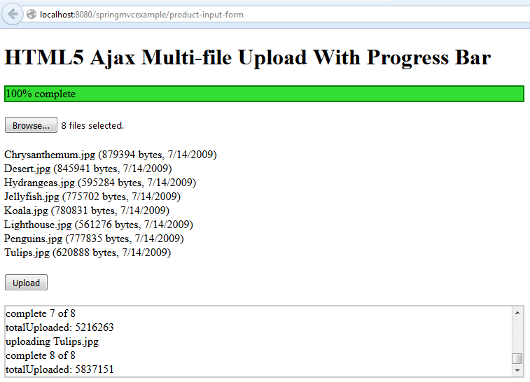 Spring mvc multiple file upload with progress bar in ajax
