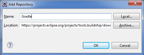 Install Gradle via Eclipse Update Manager