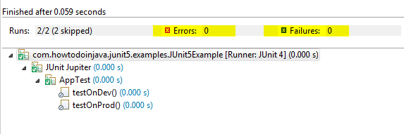 JUnit 5 Disabled Annotation Over Class
