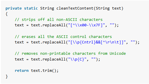Java remove non-printable non-ascii characters using regex