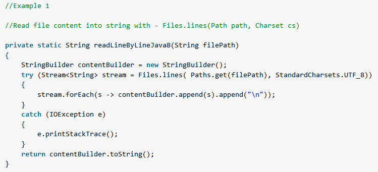 Java - Read File to String Examples - HowToDoInJava