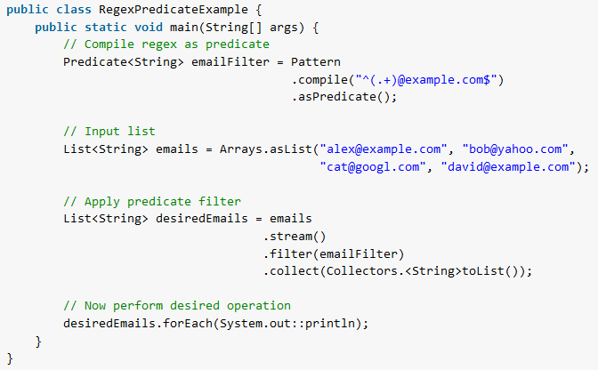 Java Regex As Predicate Using Pattern Compile Method