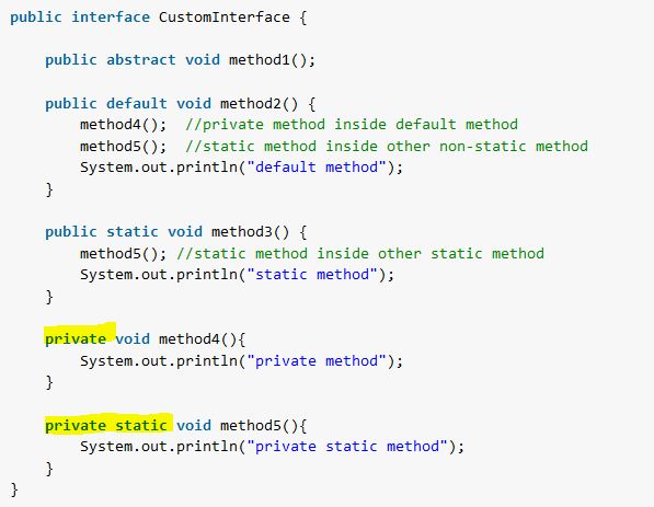 Private Methods in Interface - Java 9 - HowToDoInJava