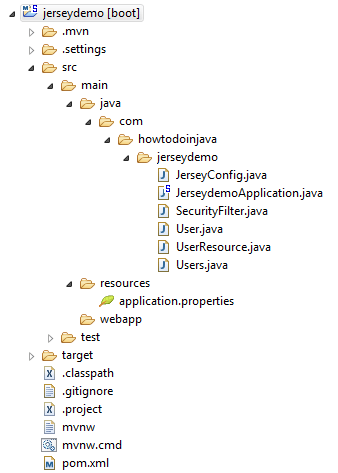 Spring Boot JAX-RS Security Demo - Project Structure