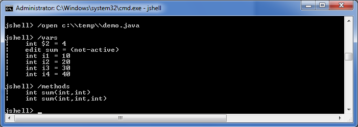 Java Code loaded in JShell