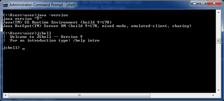Jshell Launched Window