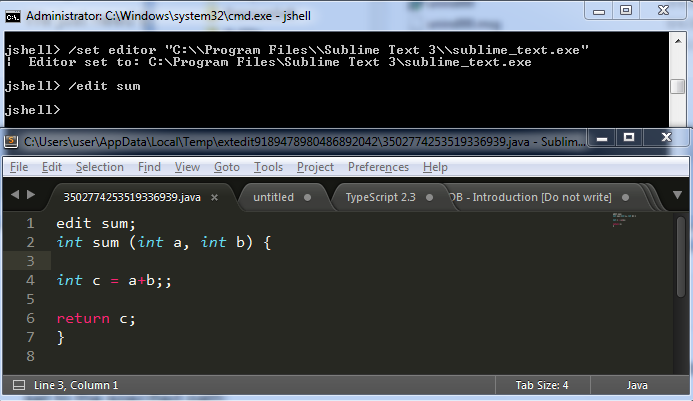 Launch Sublime Editor from JShell