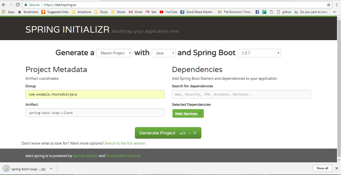 Generate Spring boot project