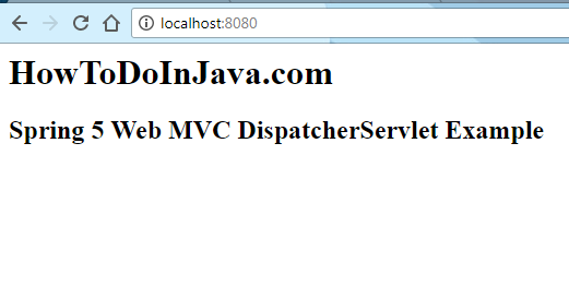 Spring DispatcherServlet Demo Screen