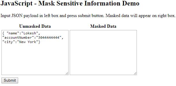 JavaScript Logs - Mask Sensitive Information in JSON