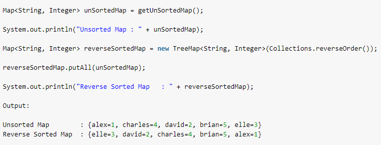 Java sort Map by key (ascending and descending orders)