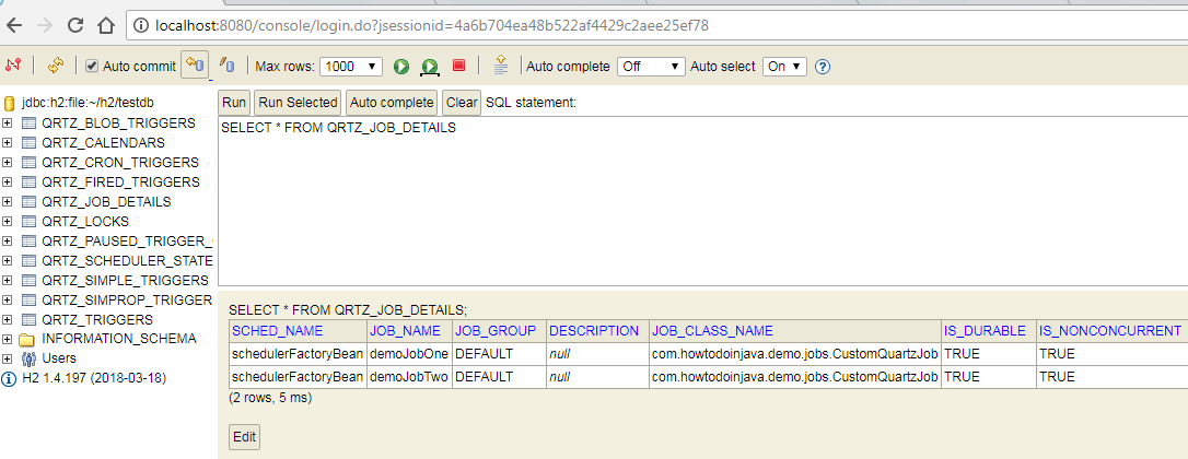 Spring Batch + Quartz + H2 Jdbcjobstore Example - HowToDoInJava