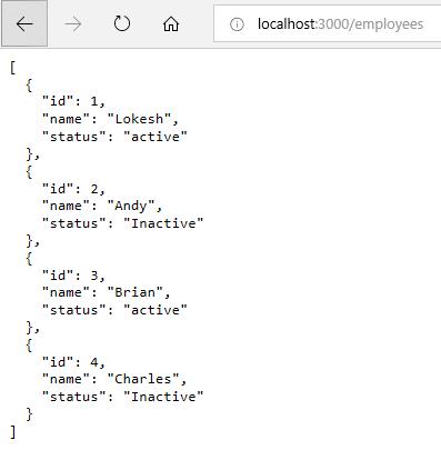 JSON server running
