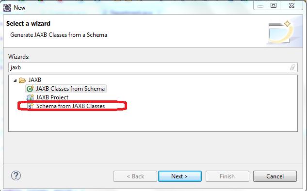 Schema from JAXB Classes Option