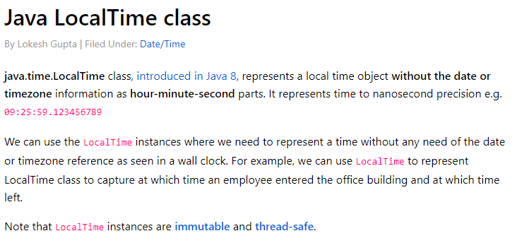 Java LocalTime class - create, parse, format and