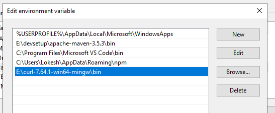 cURL bin location in windows PATH
