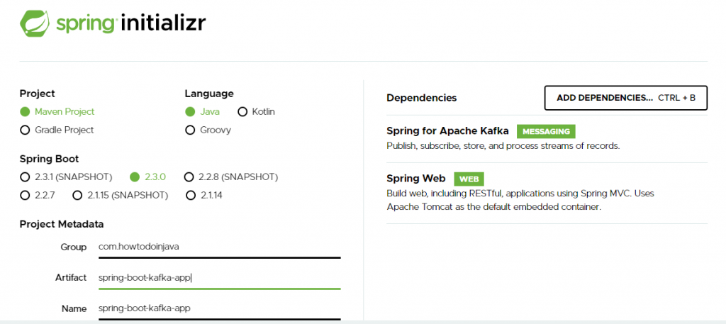 Create Spring boot kafka application