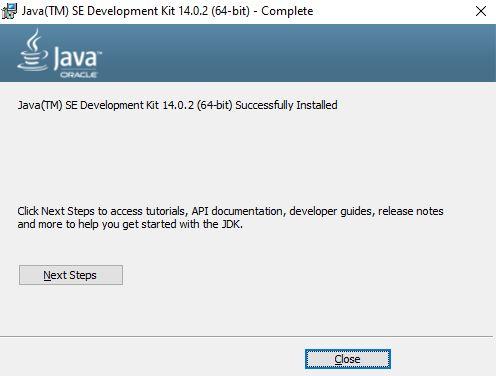 JDK Installation Finished