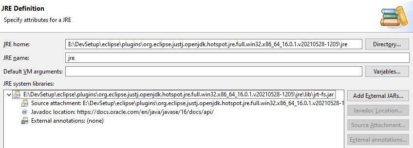 Default JRE Version is 16