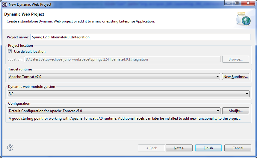 Dynamic web project creation in eclipse