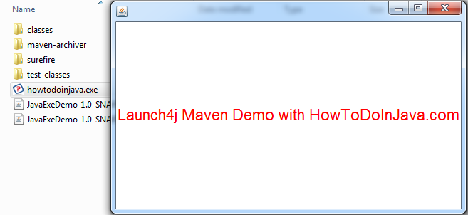 Launch4j maven demo to create java executable