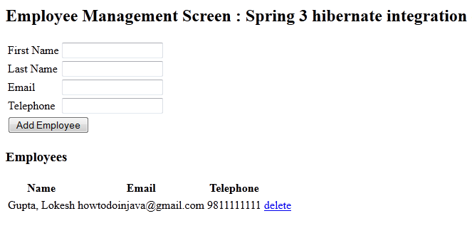 spring 3 + hibernate integration example
