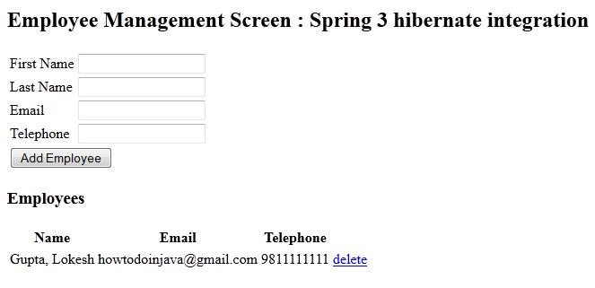 spring 3 + hibernate integration example